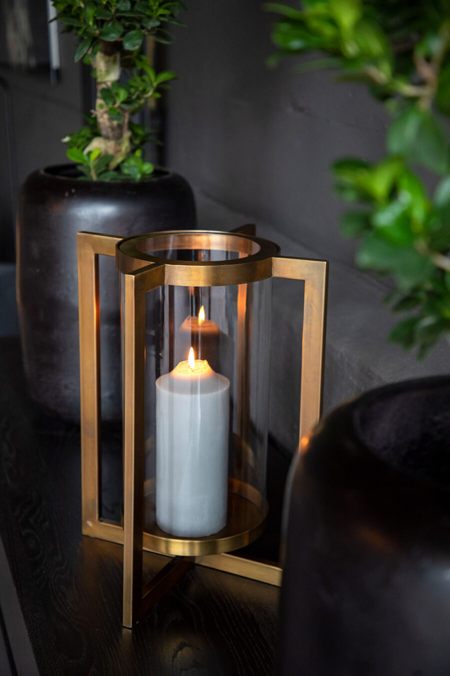 Artwood Verano Hurricane ljuslykta brass antique