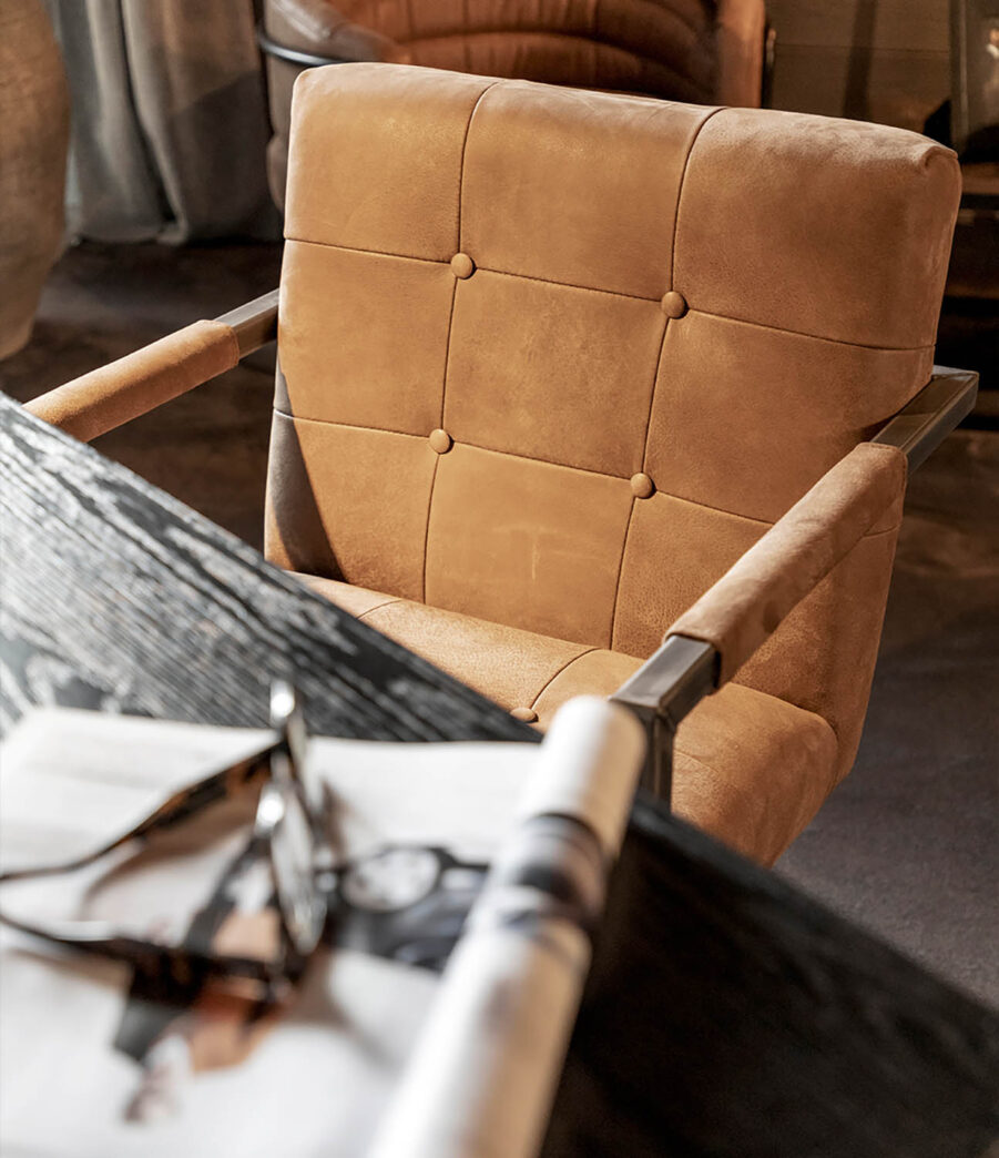 Artwood Jed karmstol nubuck brown leather