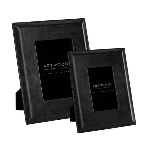 Artwood Mendoza Plain fotoram black leather 2-set