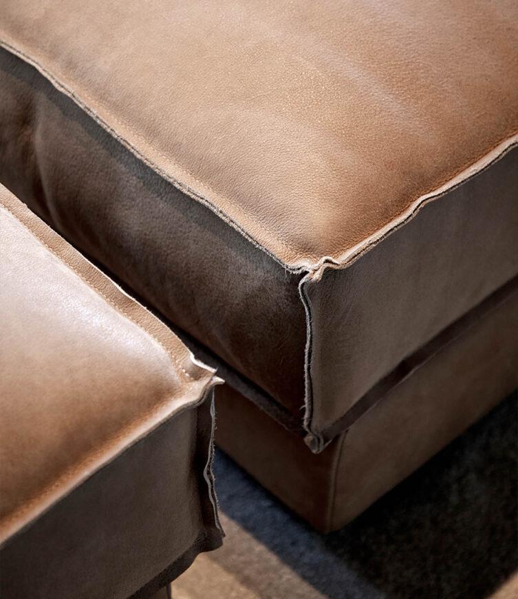Artwood Montana ottoman nubuck taupe leather