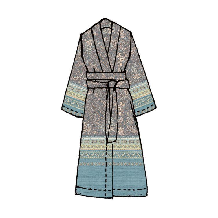 Di Spagna kimono i lila med blå kant.